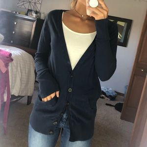 Navy Blue Long Sleeve Button Up Cardigan